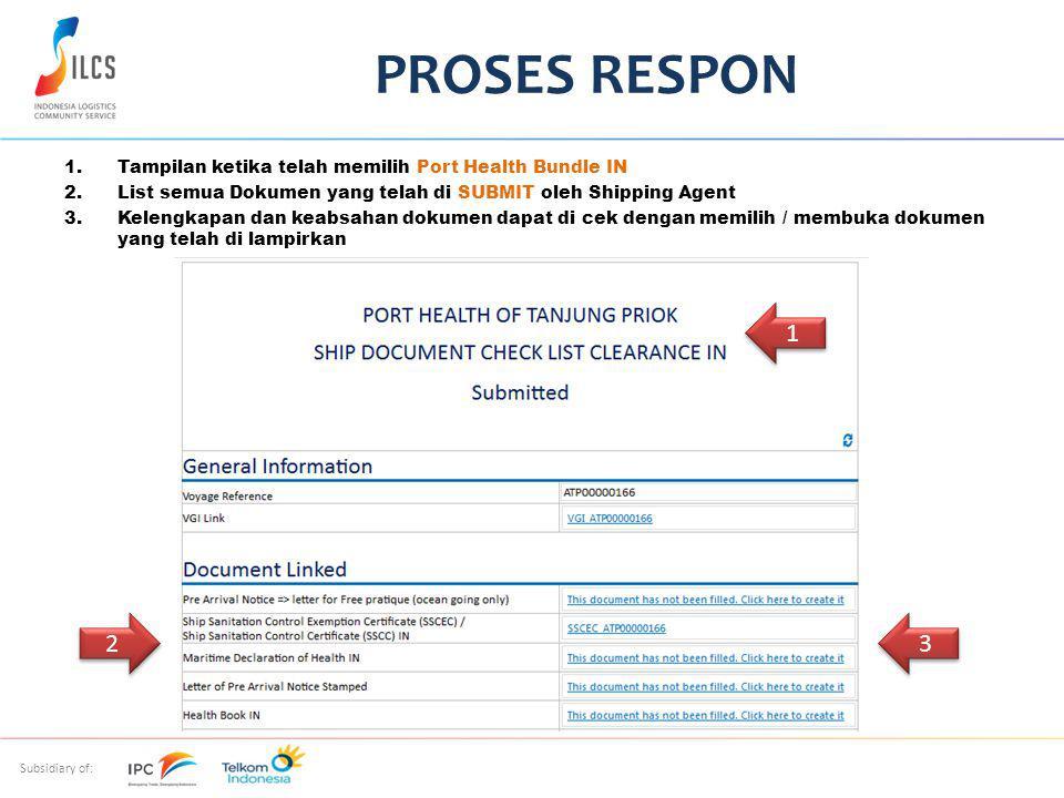 Subsidiary of: 1.Tampilan ketika telah memilih Port Health Bundle IN 2.List semua Dokumen yang telah di SUBMIT oleh Shipping Agent 3.Kelengkapan dan keabsahan dokumen dapat di cek dengan memilih / membuka dokumen yang telah di lampirkan PROSES RESPON 1 1 2 2 3 3