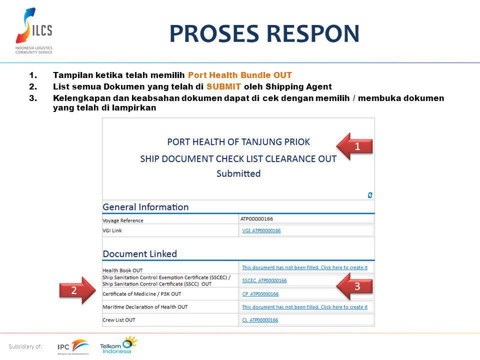 Subsidiary of: 1.Tampilan ketika telah memilih Port Health Bundle OUT 2.List semua Dokumen yang telah di SUBMIT oleh Shipping Agent 3.Kelengkapan dan keabsahan dokumen dapat di cek dengan memilih / membuka dokumen yang telah di lampirkan PROSES RESPON 1 1 2 2 3 3