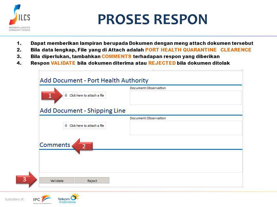 Subsidiary of: 1.Dapat memberikan lampiran berupada Dokumen dengan meng attach dokumen tersebut 2.Bila data lengkap, File yang di Attach adalah PORT HEALTH QUARANTINE CLEARENCE 3.Bila diperlukan, tambahkan COMMENTS terhadapan respon yang diberikan 4.Respon VALIDATE bila dokumen diterima atau REJECTED bila dokumen ditolak PROSES RESPON 2 2 1 1 3 3