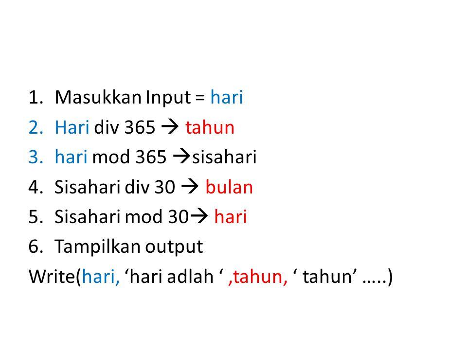 1.Masukkan Input = hari 2.Hari div 365  tahun 3.hari mod 365  sisahari 4.Sisahari div 30  bulan 5.Sisahari mod 30  hari 6.Tampilkan output Write(hari, 'hari adlah ',tahun, ' tahun' …..)