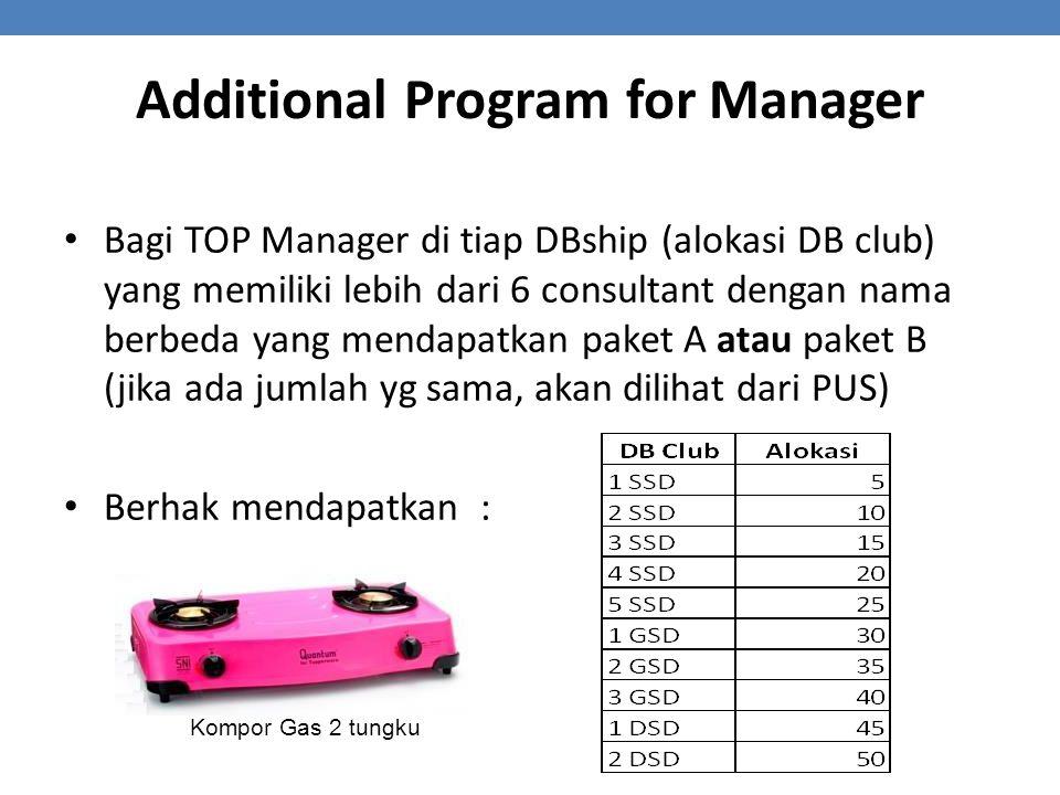 Bagi TOP Manager di tiap DBship (alokasi DB club) yang memiliki lebih dari 6 consultant dengan nama berbeda yang mendapatkan paket A atau paket B (jika ada jumlah yg sama, akan dilihat dari PUS) Berhak mendapatkan : Additional Program for Manager Kompor Gas 2 tungku
