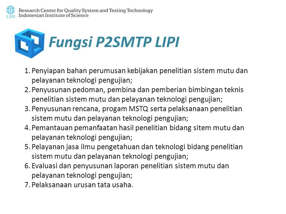 1.Penyiapan bahan perumusan kebijakan penelitian sistem mutu dan pelayanan teknologi pengujian; 2.Penyusunan pedoman, pembina dan pemberian bimbingan