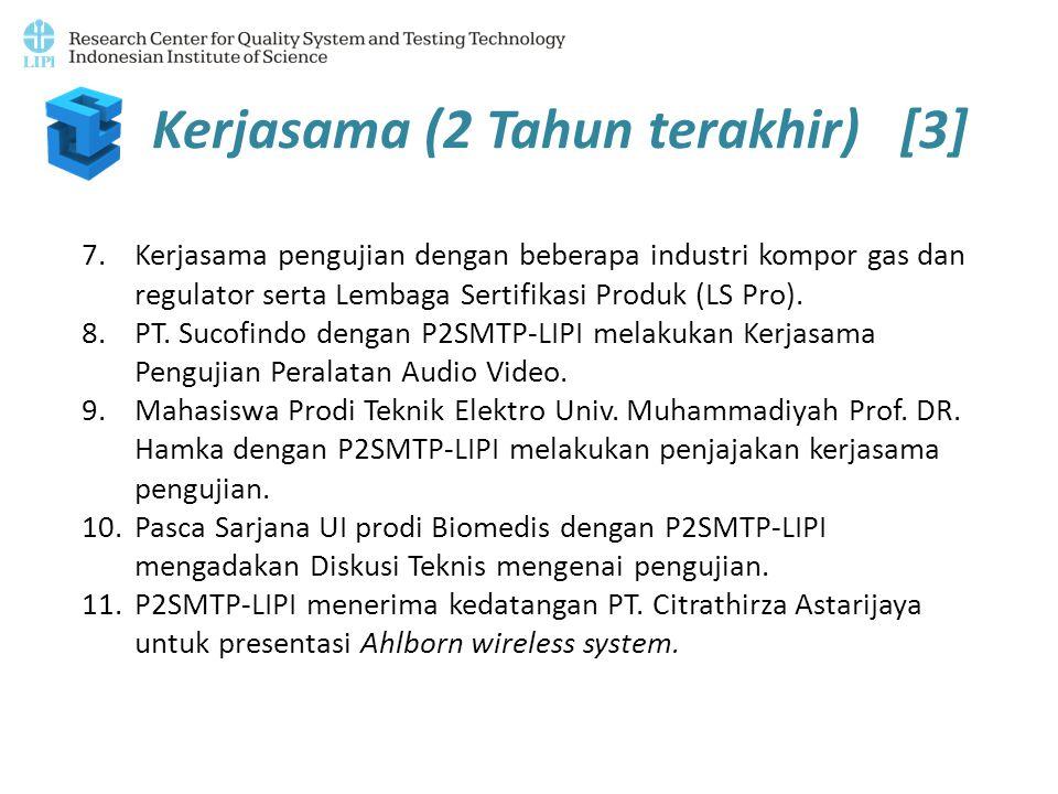 Kerjasama (2 Tahun terakhir) [3] 7.Kerjasama pengujian dengan beberapa industri kompor gas dan regulator serta Lembaga Sertifikasi Produk (LS Pro). 8.