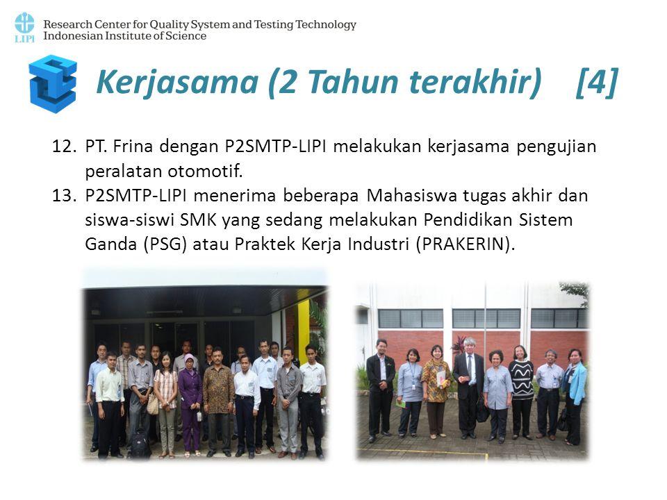 Kerjasama (2 Tahun terakhir) [4] 12.PT. Frina dengan P2SMTP-LIPI melakukan kerjasama pengujian peralatan otomotif. 13.P2SMTP-LIPI menerima beberapa Ma