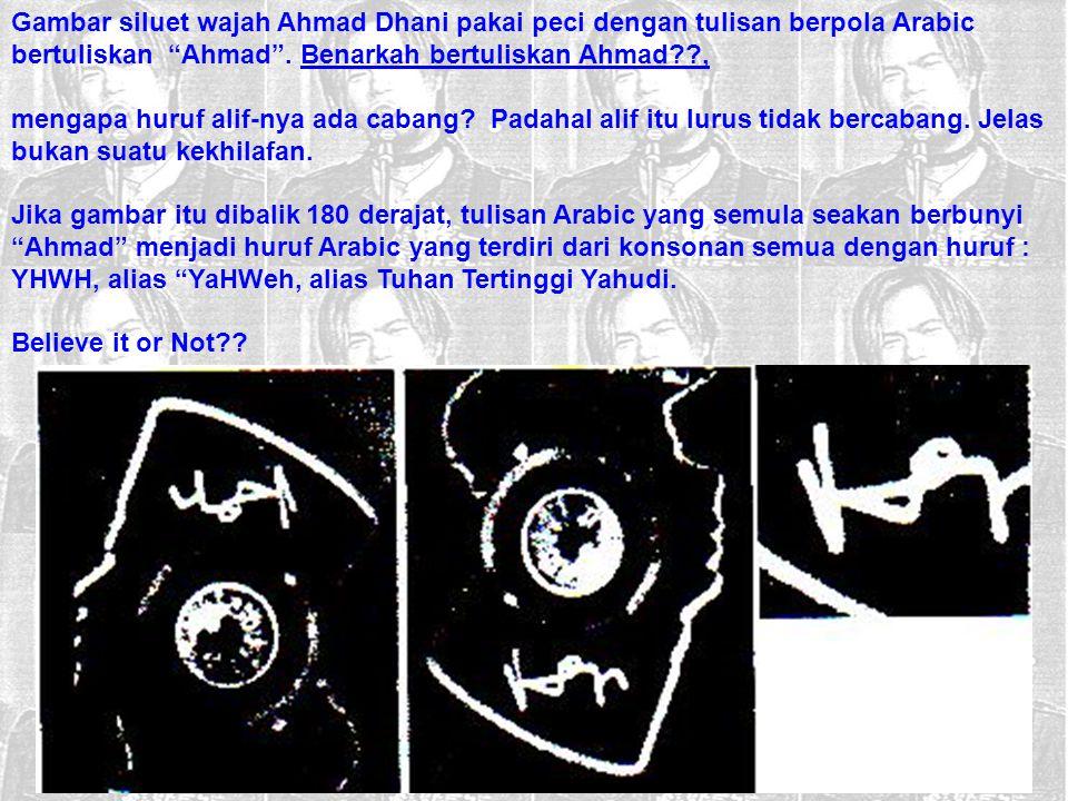 """Gambar siluet wajah Ahmad Dhani pakai peci dengan tulisan berpola Arabic bertuliskan """"Ahmad"""". Benarkah bertuliskan Ahmad??, mengapa huruf alif-nya ada"""
