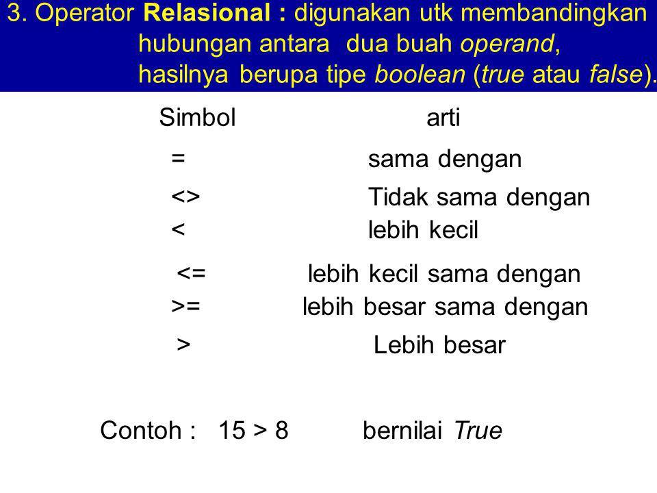 3. Operator Relasional : digunakan utk membandingkan hubungan antara dua buah operand, hasilnya berupa tipe boolean (true atau false). Simbol arti =sa