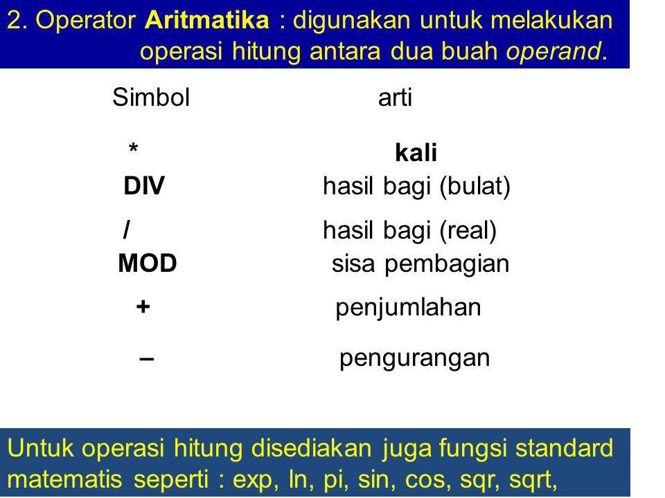 2. Operator Aritmatika : digunakan untuk melakukan operasi hitung antara dua buah operand.