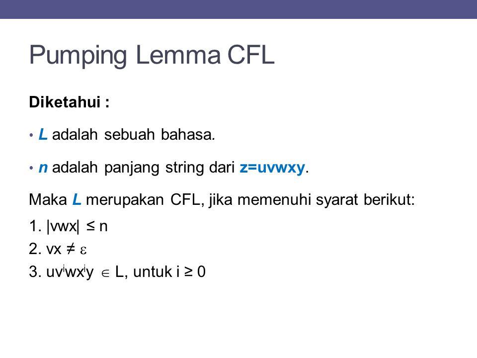 Contoh Pumping Lemma CFL Diketahui: L = {a i b 2i c j : i,j ≥ 0} Buktikan bahwa L merupakan CFL.