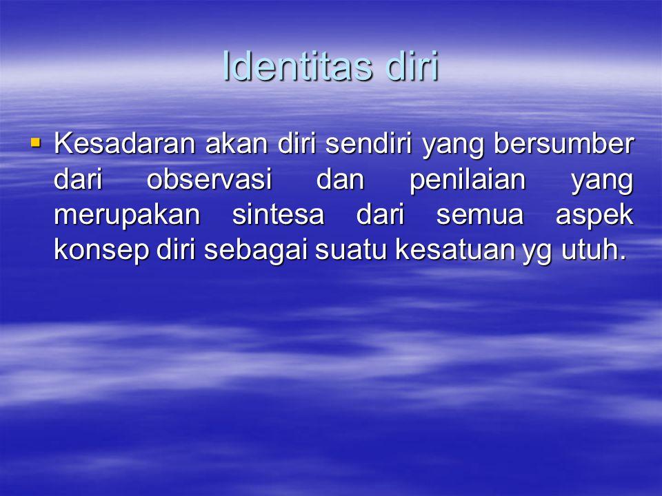 Identitas diri  Kesadaran akan diri sendiri yang bersumber dari observasi dan penilaian yang merupakan sintesa dari semua aspek konsep diri sebagai s