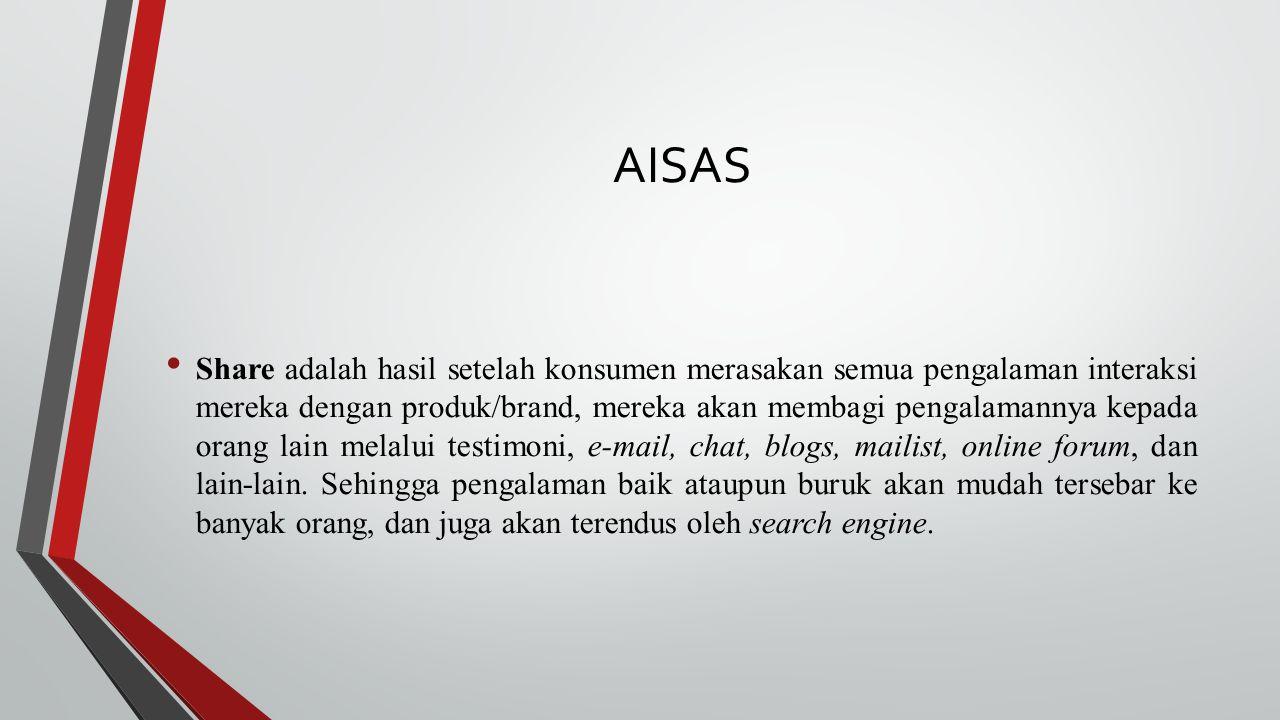 AISAS Share adalah hasil setelah konsumen merasakan semua pengalaman interaksi mereka dengan produk/brand, mereka akan membagi pengalamannya kepada or