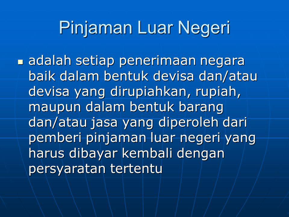 Pemberi Pinjaman Luar Negeri, (PPLN) adalah pemerintah suatu negara asing, lembaga multilateral, lembaga keuangan dan lembaga non keuangan asing, serta lembaga keuangan non asing, yang berdomisili dan melakukan kegiatan usaha di luar wilayah negara Republik Indonesia, yang memberikan pinjaman kepada.