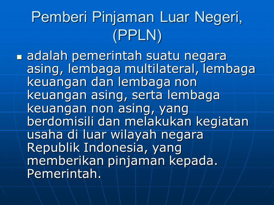 Pemberi Pinjaman Luar Negeri, (PPLN) adalah pemerintah suatu negara asing, lembaga multilateral, lembaga keuangan dan lembaga non keuangan asing, sert