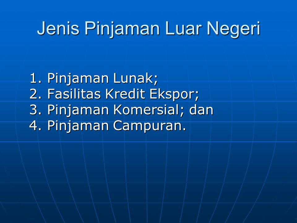 Jenis Pinjaman Luar Negeri 1. Pinjaman Lunak; 2. Fasilitas Kredit Ekspor; 3. Pinjaman Komersial; dan 4. Pinjaman Campuran.