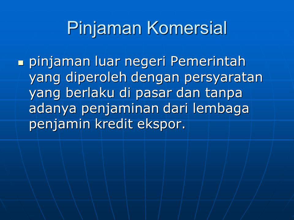 Pinjaman Komersial pinjaman luar negeri Pemerintah yang diperoleh dengan persyaratan yang berlaku di pasar dan tanpa adanya penjaminan dari lembaga pe