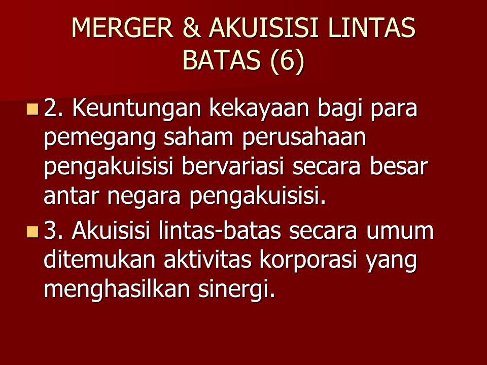 MERGER & AKUISISI LINTAS BATAS (6) 2. Keuntungan kekayaan bagi para pemegang saham perusahaan pengakuisisi bervariasi secara besar antar negara pengak