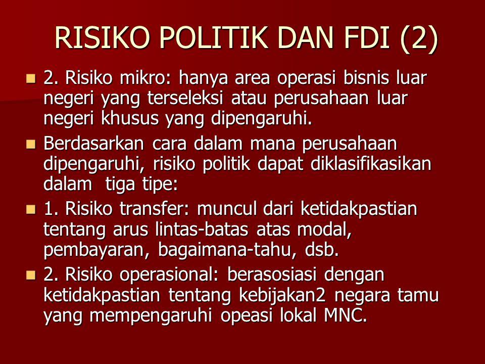 RISIKO POLITIK DAN FDI (2) 2. Risiko mikro: hanya area operasi bisnis luar negeri yang terseleksi atau perusahaan luar negeri khusus yang dipengaruhi.