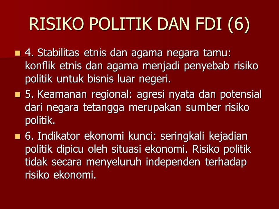 RISIKO POLITIK DAN FDI (6) 4. Stabilitas etnis dan agama negara tamu: konflik etnis dan agama menjadi penyebab risiko politik untuk bisnis luar negeri