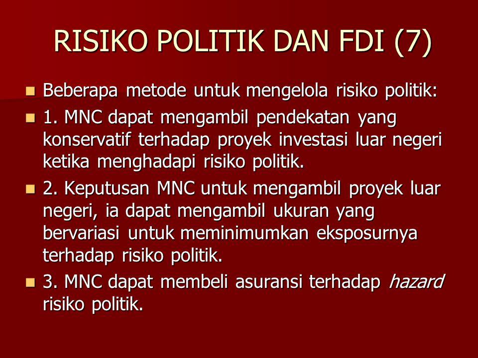 RISIKO POLITIK DAN FDI (7) Beberapa metode untuk mengelola risiko politik: Beberapa metode untuk mengelola risiko politik: 1. MNC dapat mengambil pend