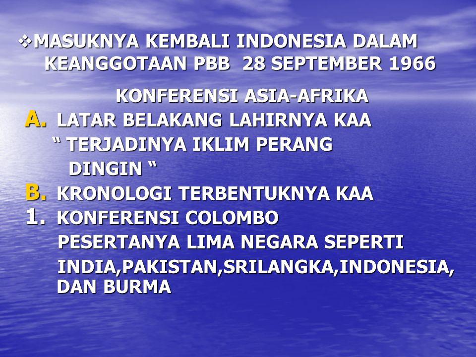 """ MASUKNYA KEMBALI INDONESIA DALAM KEANGGOTAAN PBB 28 SEPTEMBER 1966 KONFERENSI ASIA-AFRIKA A. LATAR BELAKANG LAHIRNYA KAA """" TERJADINYA IKLIM PERANG """""""