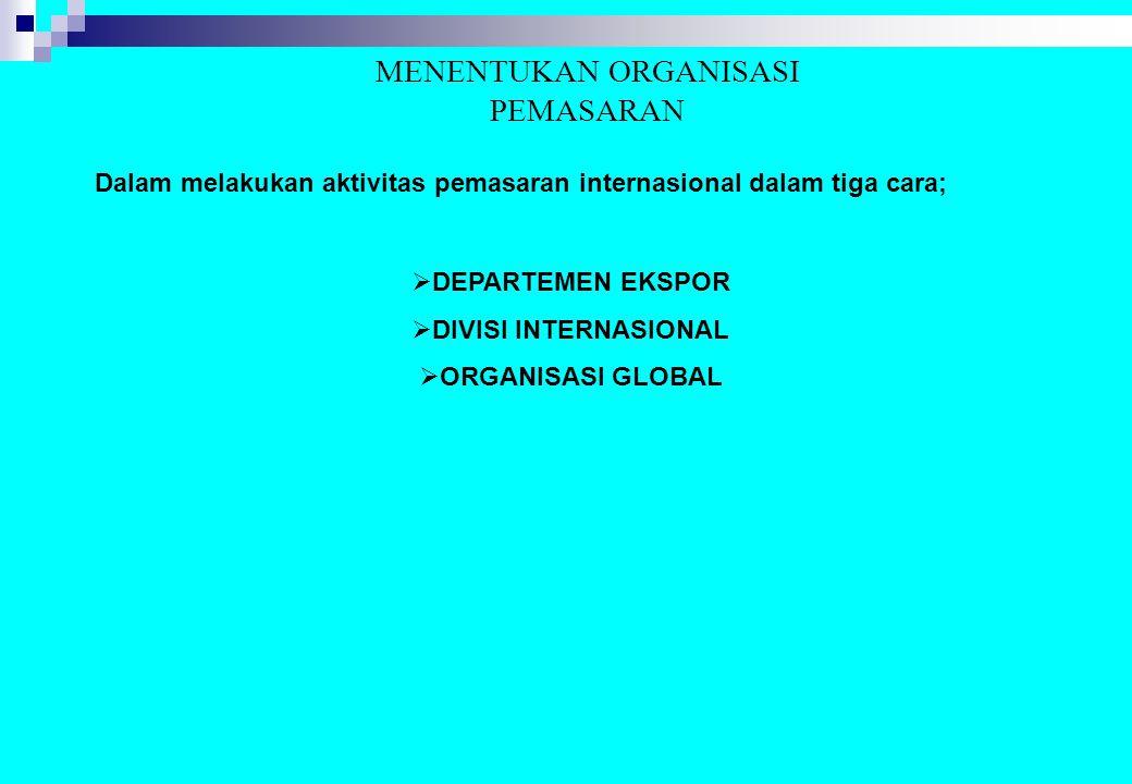 MENENTUKAN ORGANISASI PEMASARAN Dalam melakukan aktivitas pemasaran internasional dalam tiga cara;  DEPARTEMEN EKSPOR  DIVISI INTERNASIONAL  ORGANI