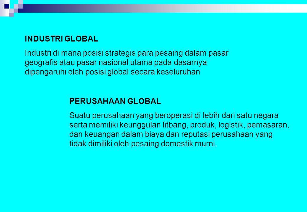 INDUSTRI GLOBAL Industri di mana posisi strategis para pesaing dalam pasar geografis atau pasar nasional utama pada dasarnya dipengaruhi oleh posisi g