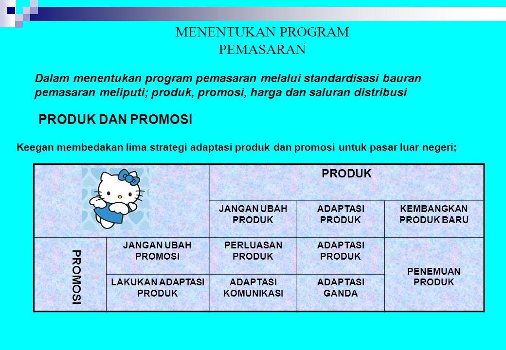 MENENTUKAN PROGRAM PEMASARAN Dalam menentukan program pemasaran melalui standardisasi bauran pemasaran meliputi; produk, promosi, harga dan saluran di