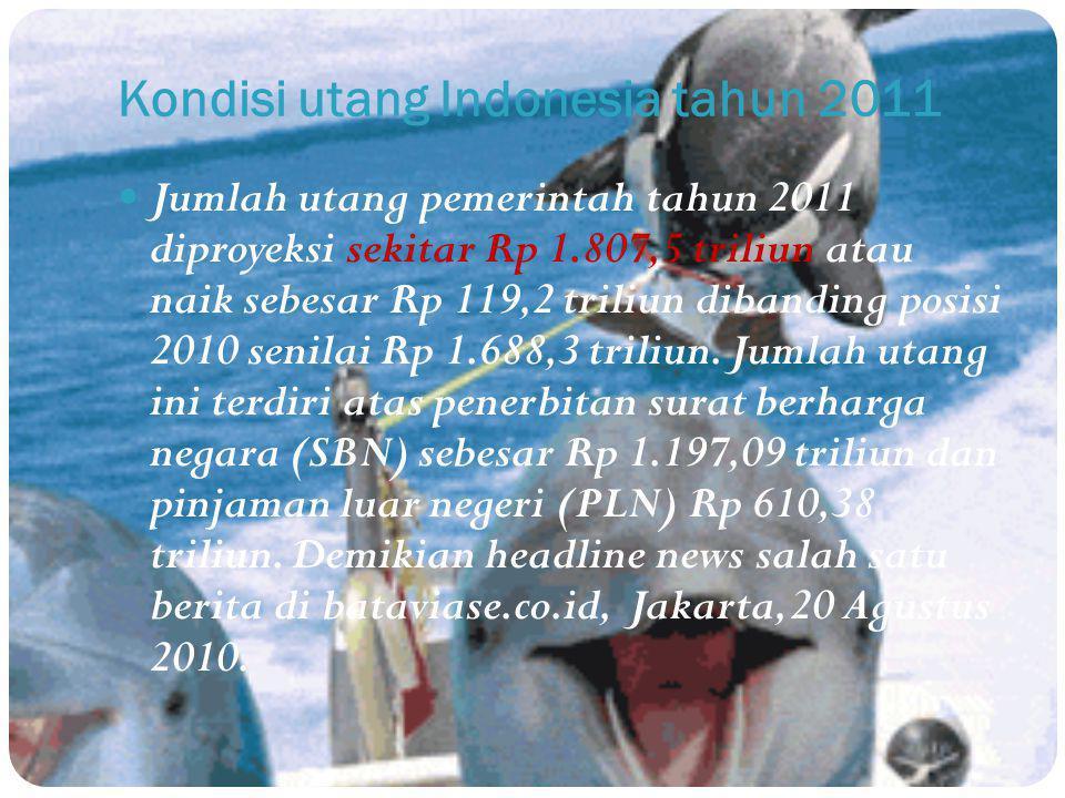 Kondisi utang Indonesia tahun 2011 Jumlah utang pemerintah tahun 2011 diproyeksi sekitar Rp 1.807,5 triliun atau naik sebesar Rp 119,2 triliun dibandi