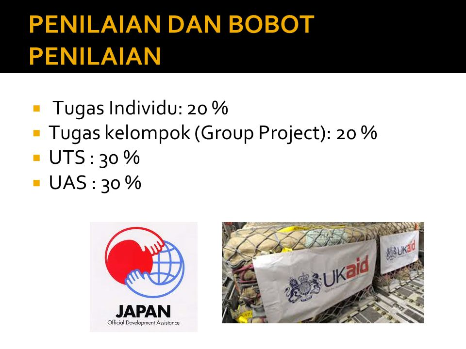 PENILAIAN DAN BOBOT PENILAIAN  Tugas Individu: 20 %  Tugas kelompok (Group Project): 20 %  UTS : 30 %  UAS : 30 %