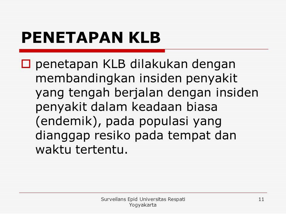 PENETAPAN KLB  penetapan KLB dilakukan dengan membandingkan insiden penyakit yang tengah berjalan dengan insiden penyakit dalam keadaan biasa (endemi