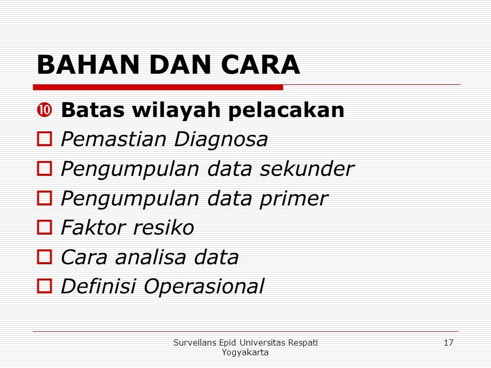 BAHAN DAN CARA  Batas wilayah pelacakan  Pemastian Diagnosa  Pengumpulan data sekunder  Pengumpulan data primer  Faktor resiko  Cara analisa dat