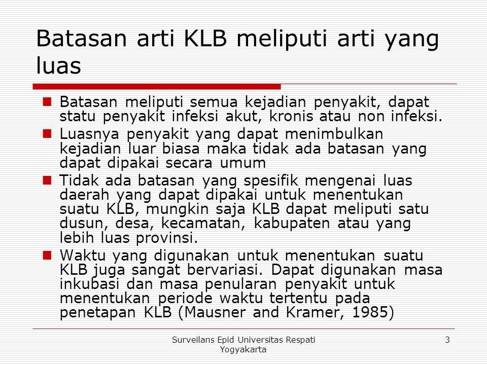 Batasan arti KLB meliputi arti yang luas Batasan meliputi semua kejadian penyakit, dapat statu penyakit infeksi akut, kronis atau non infeksi. Luasnya
