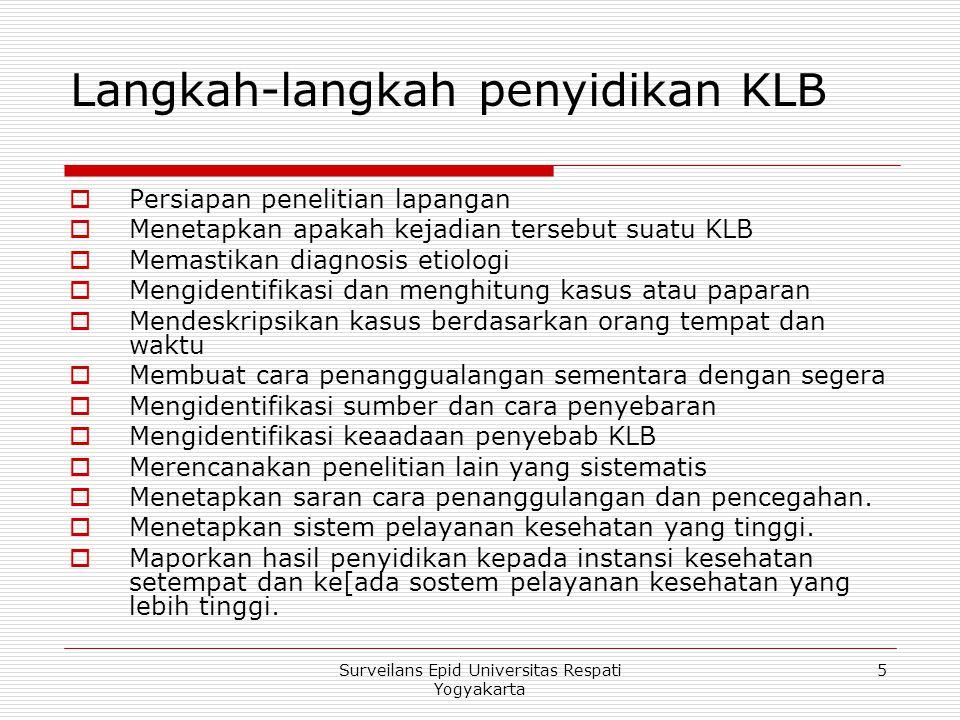 Langkah-langkah penyidikan KLB  Persiapan penelitian lapangan  Menetapkan apakah kejadian tersebut suatu KLB  Memastikan diagnosis etiologi  Mengi