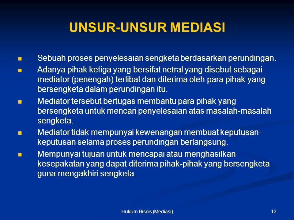 UNSUR-UNSUR MEDIASI Sebuah proses penyelesaian sengketa berdasarkan perundingan. Adanya pihak ketiga yang bersifat netral yang disebut sebagai mediato