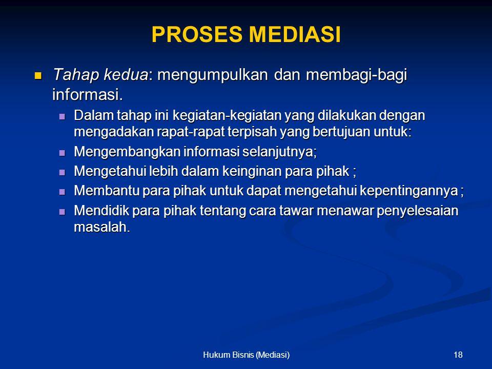 PROSES MEDIASI Tahap kedua: mengumpulkan dan membagi-bagi informasi. Tahap kedua: mengumpulkan dan membagi-bagi informasi. Dalam tahap ini kegiatan-ke