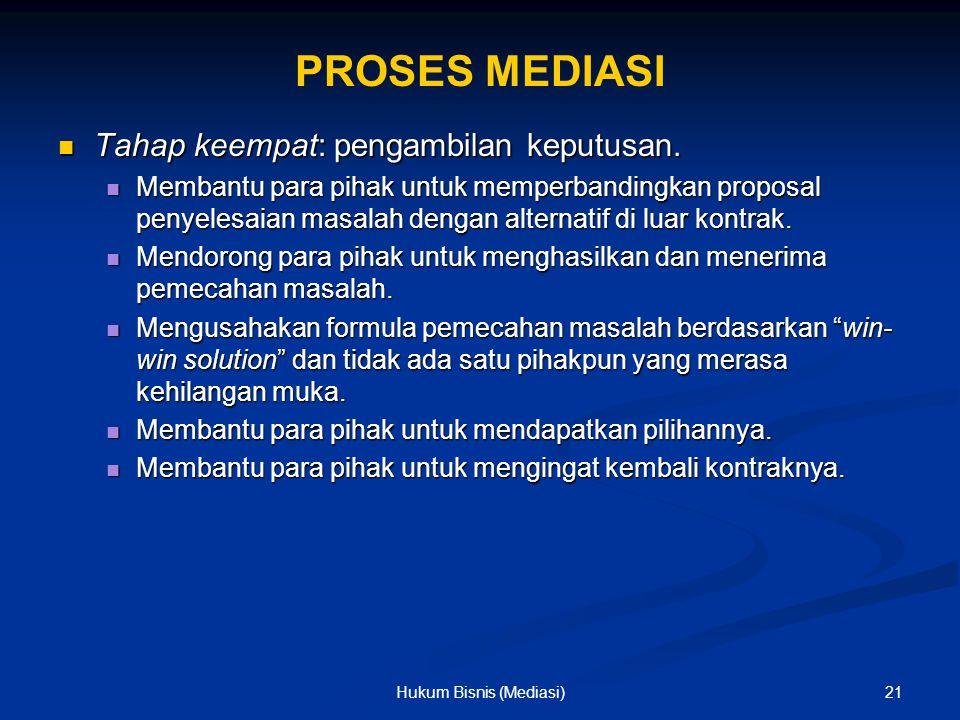 PROSES MEDIASI Tahap keempat: pengambilan keputusan. Tahap keempat: pengambilan keputusan. Membantu para pihak untuk memperbandingkan proposal penyele