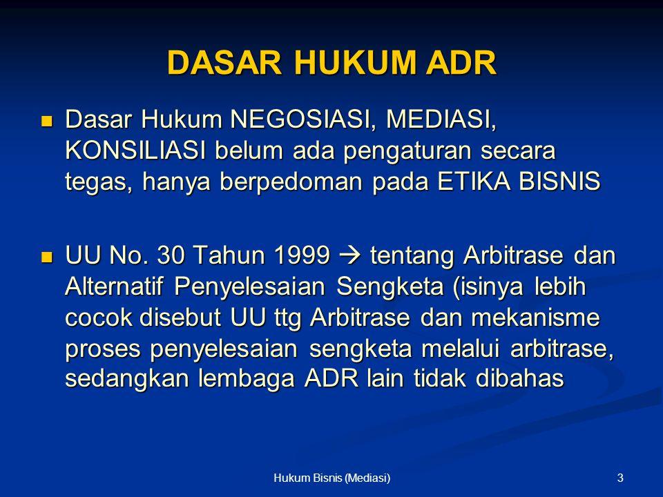 DASAR HUKUM ADR Dasar Hukum NEGOSIASI, MEDIASI, KONSILIASI belum ada pengaturan secara tegas, hanya berpedoman pada ETIKA BISNIS Dasar Hukum NEGOSIASI