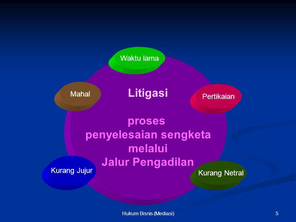 Litigasi proses penyelesaian sengketa melalui Jalur Pengadilan Mahal Pertikaian Waktu lama Kurang Jujur Kurang Netral 5Hukum Bisnis (Mediasi)