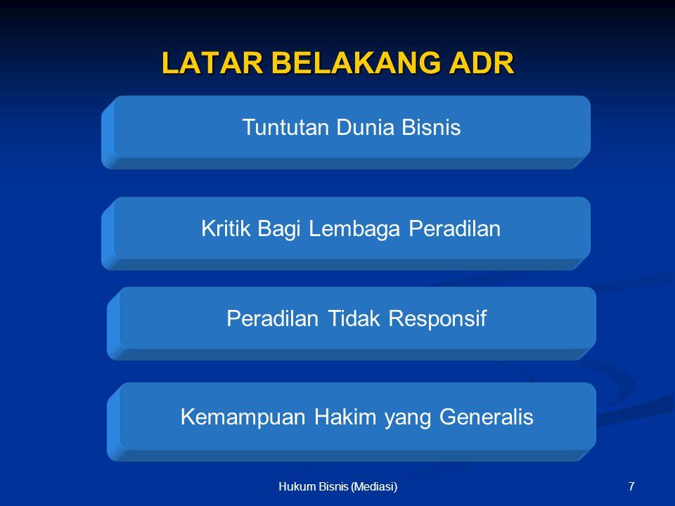 BENTUK-BENTUK ADR Negosiasi Mediasi Konsoliasi Arbitrase 8Hukum Bisnis (Mediasi)