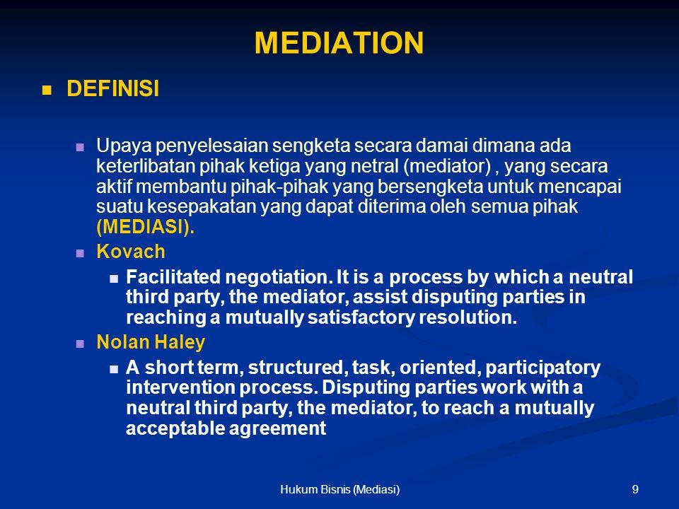 MEDIATION DEFINISI Upaya penyelesaian sengketa secara damai dimana ada keterlibatan pihak ketiga yang netral (mediator), yang secara aktif membantu pi