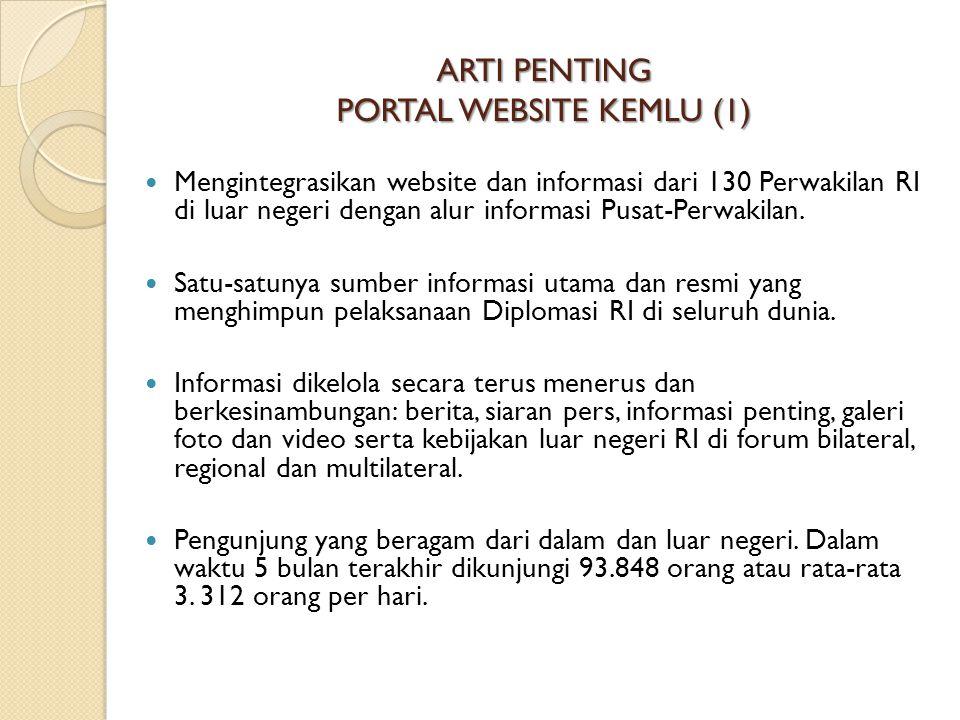 ARTI PENTING PORTAL WEBSITE KEMLU (1) Mengintegrasikan website dan informasi dari 130 Perwakilan RI di luar negeri dengan alur informasi Pusat-Perwaki