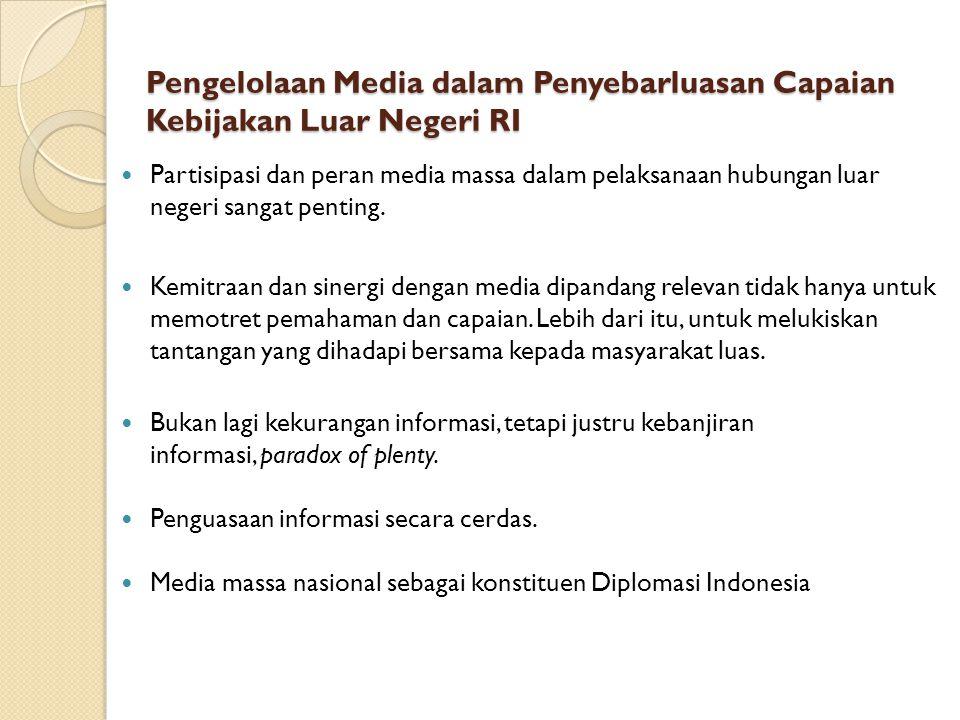 Pengelolaan Media dalam Penyebarluasan Capaian Kebijakan Luar Negeri RI Partisipasi dan peran media massa dalam pelaksanaan hubungan luar negeri sanga
