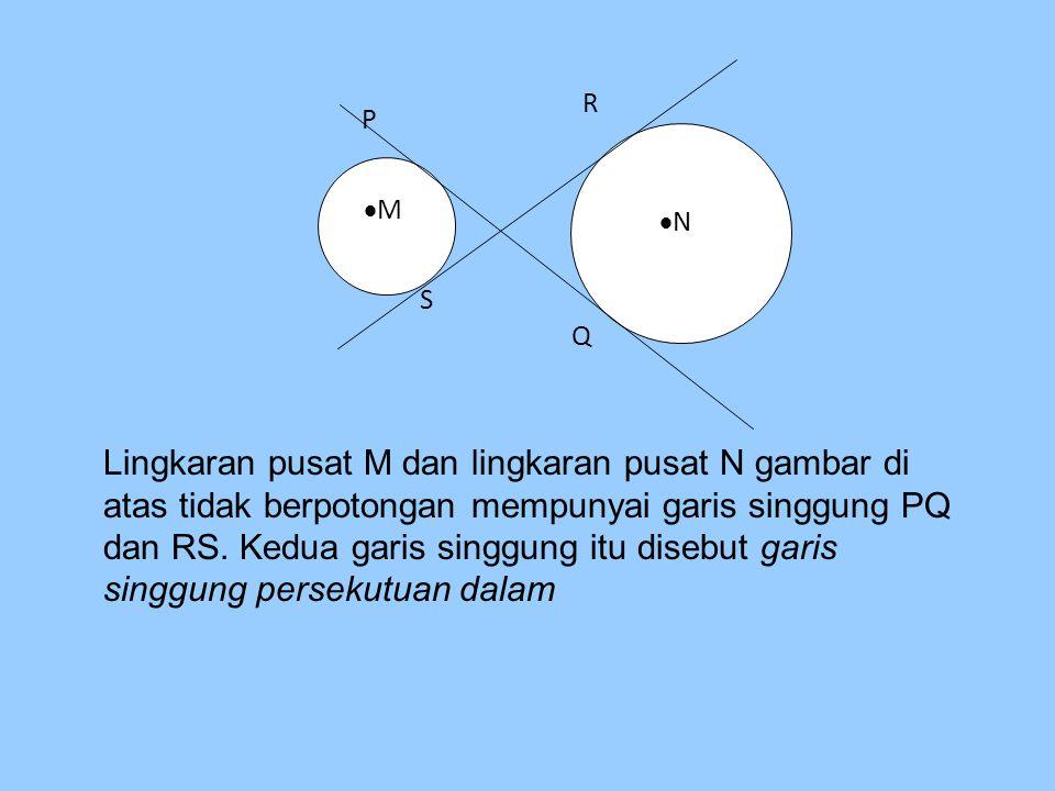 MM P NN S Q R Lingkaran pusat M dan lingkaran pusat N gambar di atas tidak berpotongan mempunyai garis singgung PQ dan RS. Kedua garis singgung it