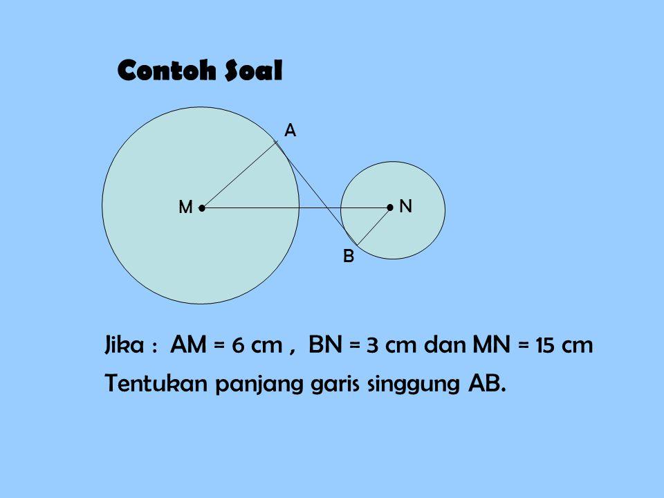 Contoh Soal M   N A B Jika : AM = 6 cm, BN = 3 cm dan MN = 15 cm Tentukan panjang garis singgung AB.