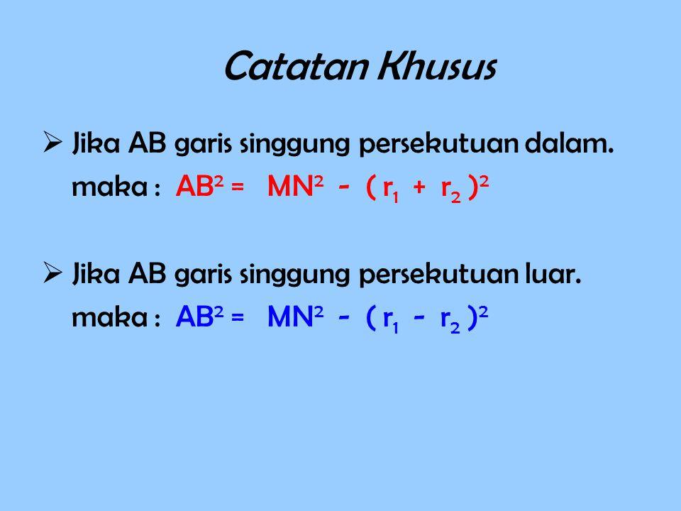 Catatan Khusus  Jika AB garis singgung persekutuan dalam. maka : AB 2 = MN 2 - ( r 1 + r 2 ) 2  Jika AB garis singgung persekutuan luar. maka : AB 2