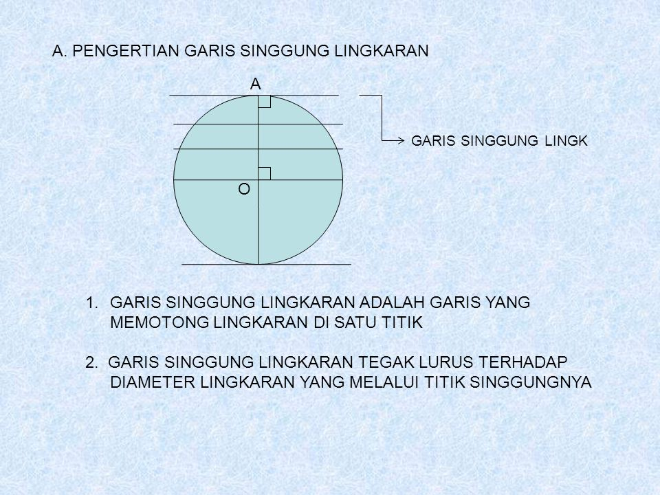 A. PENGERTIAN GARIS SINGGUNG LINGKARAN 1.GARIS SINGGUNG LINGKARAN ADALAH GARIS YANG MEMOTONG LINGKARAN DI SATU TITIK 2. GARIS SINGGUNG LINGKARAN TEGAK