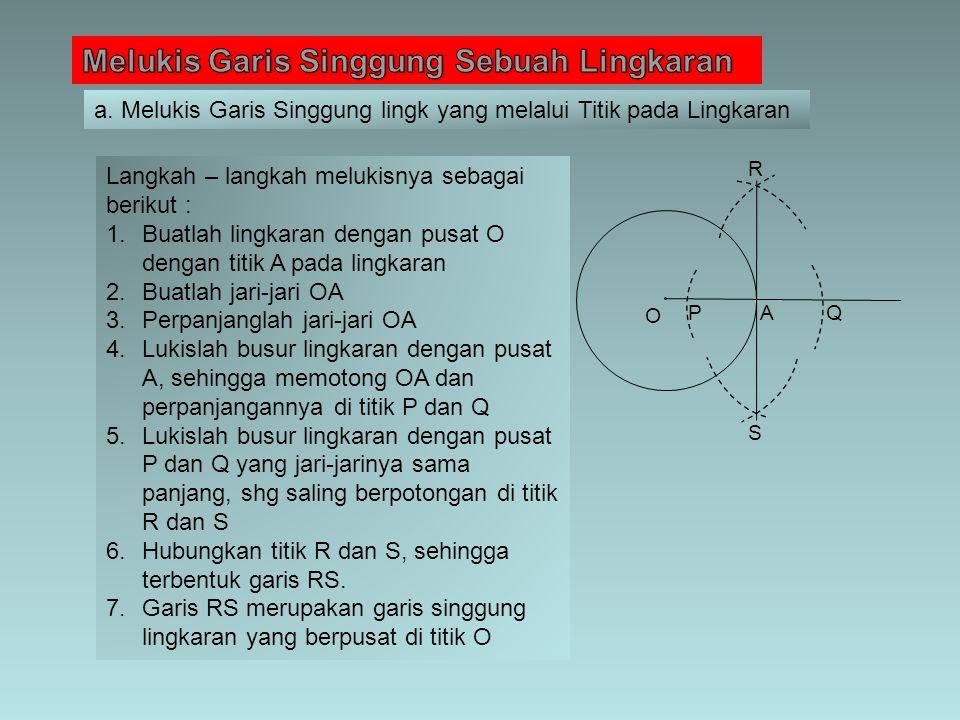O PA Q R S Langkah – langkah melukisnya sebagai berikut : 1.Buatlah lingkaran dengan pusat O dengan titik A pada lingkaran 2.Buatlah jari-jari OA 3.Pe