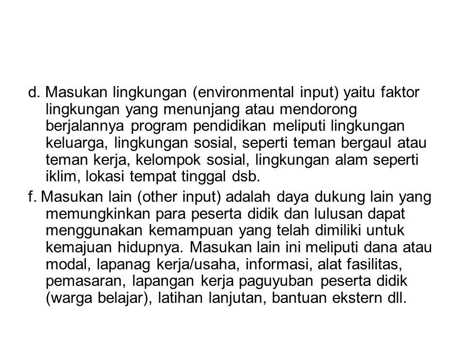 d. Masukan lingkungan (environmental input) yaitu faktor lingkungan yang menunjang atau mendorong berjalannya program pendidikan meliputi lingkungan k