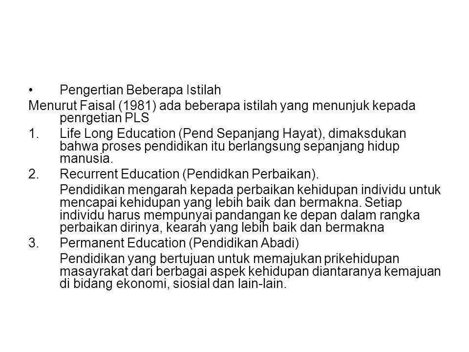 Pengertian Beberapa Istilah Menurut Faisal (1981) ada beberapa istilah yang menunjuk kepada penrgetian PLS 1.Life Long Education (Pend Sepanjang Hayat