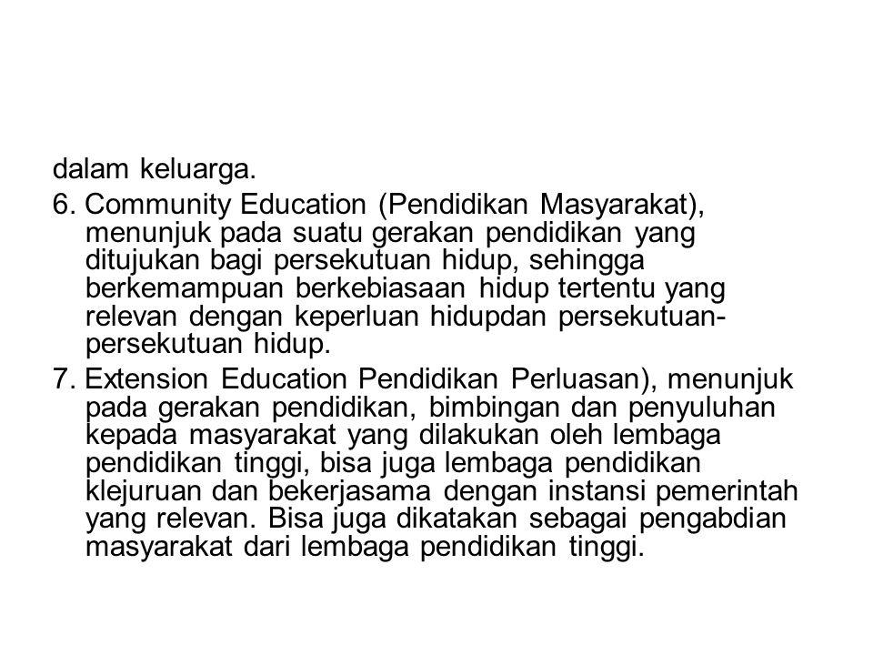 dalam keluarga. 6. Community Education (Pendidikan Masyarakat), menunjuk pada suatu gerakan pendidikan yang ditujukan bagi persekutuan hidup, sehingga