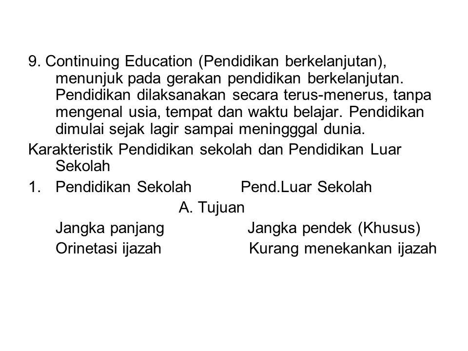 9. Continuing Education (Pendidikan berkelanjutan), menunjuk pada gerakan pendidikan berkelanjutan. Pendidikan dilaksanakan secara terus-menerus, tanp